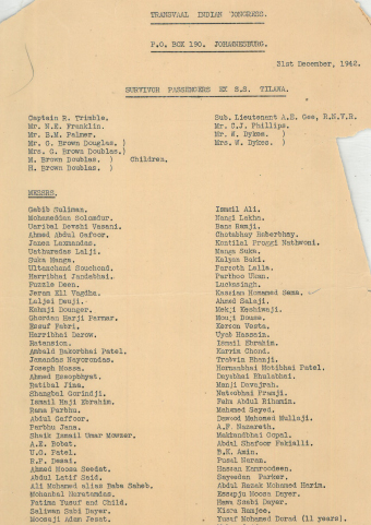 a passenger list provided by the Transvaal Indian Congress